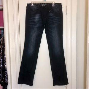ReRock Express Dark Wash Faded Denim Straight Jean